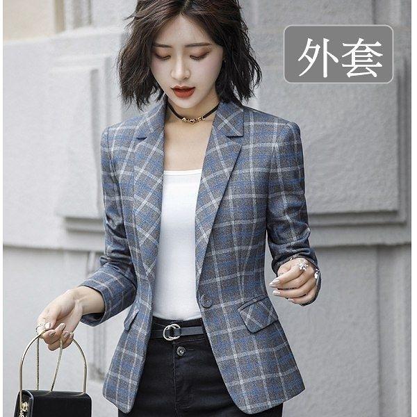 小三衣藏[8X086-PF]韓系復古風女紳時尚格子長袖秋冬西裝外套
