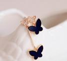 【NiNi Me】 不對稱蝴蝶鑲鑽時尚氣質夾式耳環  夾式耳環 N9012