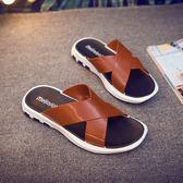 歐美街頭型男拖鞋時尚戶外涼鞋舒適透氣厚底涼拖防滑沙灘人字拖鞋  卡布奇诺