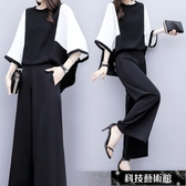 新款大碼女裝春夏兩件套褲氣質雪紡上衣闊腿褲休閒時尚套裝女