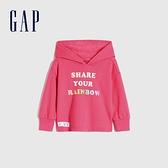 Gap女幼童 碳素軟磨系列 法式圈織甜美連帽休閒上衣 734596-玫粉色
