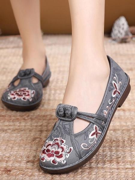 古裝鞋 新款老北京布鞋女漢服古風繡花鞋民族風圓頭中式刺繡仙氣古裝單鞋 星河光年