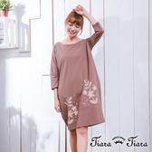 【Tiara Tiara】激安 璀璨花葉七分袖洋裝(藍/咖啡)
