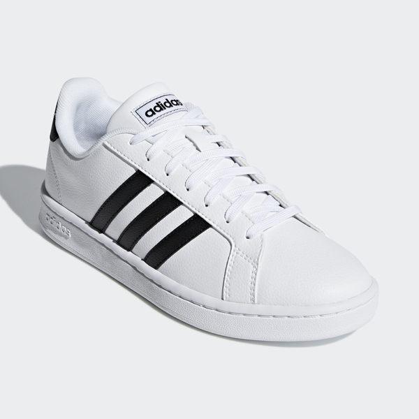 ADIDAS GRAND COURT 女鞋 休閒 板鞋 滑板 皮革 復古 白 黑【運動世界】F36483