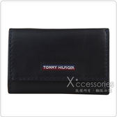 TOMMY HILFIGER Outlet 展示品 經典LOGO六鉤三折釦式短夾鑰匙包(黑)