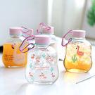 【BlueCat】仙人掌紅鶴編織手提玻璃水壺 水杯 隨手杯 (300ml)