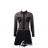 SEE BY Chloe' 黑x咖啡色拼接長袖襯衫式洋裝 1540086-76