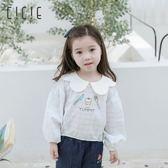 女童打底衫2019春夏兒童純棉花瓣領格子寬鬆襯衣中大小童寶寶上衣