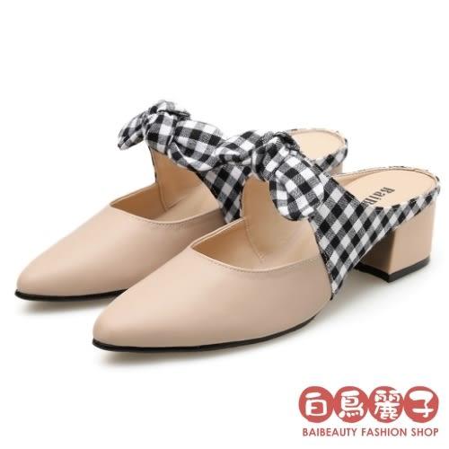 巴黎午後.圓舞曲高跟【品牌自訂款】MIT蝴蝶結點點格紋穆勒鞋.白鳥麗子(米色)