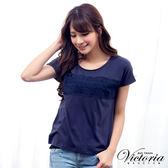 Victoria 蕾絲緞帶寬鬆短袖T-女-深藍