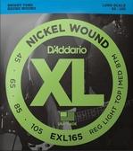 D'Addario EXL165貝斯4弦(45-105)兩包裝