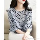上衣女春夏新款寬松波點七分袖設計感小眾雪紡衫圓領罩衫襯衣 檸檬衣舍