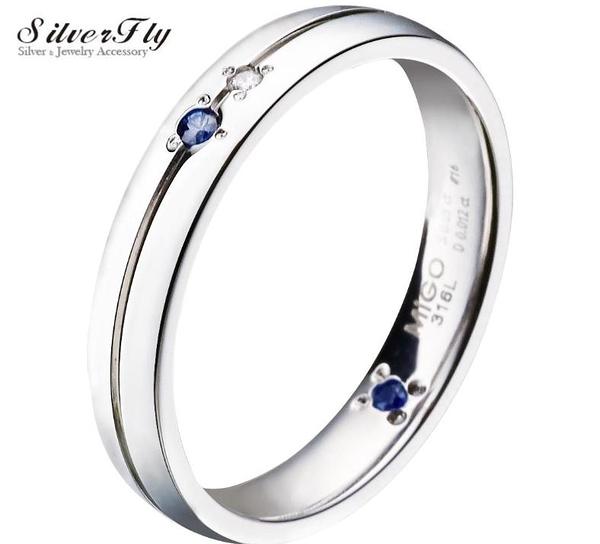 《 SilverFly銀火蟲銀飾 》【MiGO 2015 Stand by Me 】相伴白鋼男戒 鑲嵌天然鑽石、藍寶石
