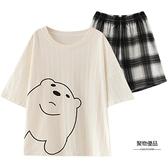 夏季睡衣女短袖短褲純棉夏天薄款可外穿家居服套裝【聚物優品】
