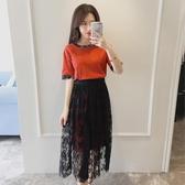 兩件式洋裝 夏季2020新款韓版學生休閒套裝裙寬鬆網紗短袖連身裙兩件套 小宅女