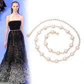 珍珠腰錬女士時尚百搭腰帶裝飾洋裝甜美太陽花金屬錬條韓版裙帶 薔薇時尚