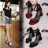 韓版高跟鞋粗跟女夏中跟鞋一字扣帶羅馬涼鞋