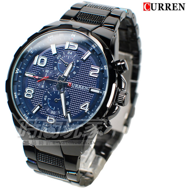 CURREN 卡瑞恩 數字時刻 造型三眼 大錶徑腕錶 男錶 厚實 防水手錶 IP黑電鍍 CU8276藍槍