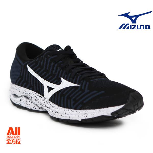 【Mizuno美津濃】男款休閒慢跑鞋WAVEKNIT R2 -全黑(J1GC182909)全方位跑步概念館
