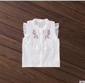 黑五好物節船鼠女童洋氣襯衫2018新款夏荷葉邊上衣純棉白色繡花立領兒童襯衣第七公社
