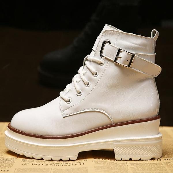 2018秋季坡跟女靴子馬丁靴短靴英倫厚底松糕鞋平底休閑單靴白色潮