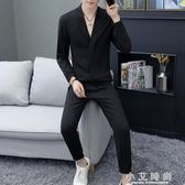男士套裝長袖V領t恤兩件套個性潮休閒長褲子 小艾時尚