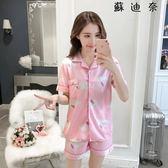 棉質睡衣 睡衣女夏短袖可外穿薄款棉質家居服