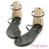 涼鞋 D+AF 完美女神.簡約套指細帶平底涼鞋*黑