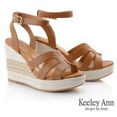 Keeley Ann夏季定番 簡約清新編織楔型涼鞋(棕色) -Ann系列