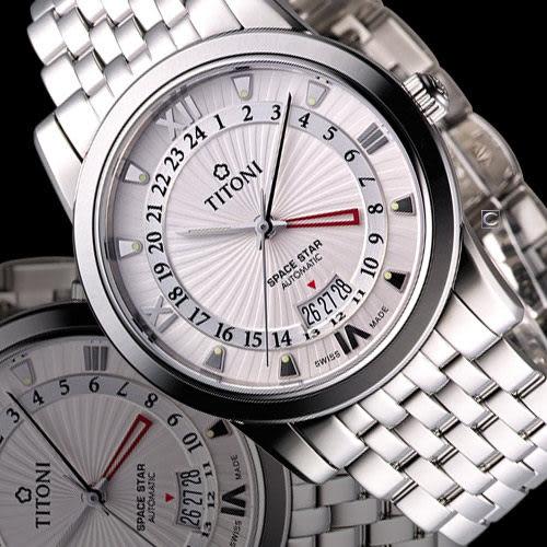 TITONI Spacestar 天星系列 GMT機械腕錶 94738S-377 銀白
