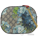 茱麗葉精品【全新現貨】GUCCI 546313 GG Blooms 花卉PVC斜背方包.藍/紅邊