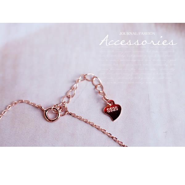 925純銀 細緻玫瑰金圈鑽 鎖骨鍊 短項鍊_質物日誌Journal