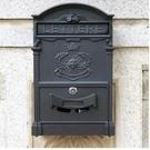 nc-固盾信箱歐式別墅復古郵政郵箱信報箱掛牆室外報紙箱家用郵筒-太陽款黑色