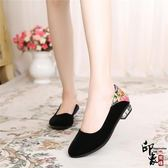 布鞋女鞋平跟單鞋休閒媽媽鞋防滑酒店鞋黑色工作鞋軟底