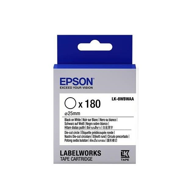 EPSON LK-8WBWAA Die-cut 刀模原廠標籤帶 C53S658401