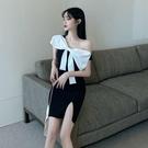 洋裝 2020夏季新款韓版名媛氣質蝴蝶結包臀開叉露肩小性感成熟連衣裙女 歐歐