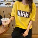 【GZ K2】短袖上衣 港風寬鬆豹紋字母印花短袖T恤 原宿風上衣