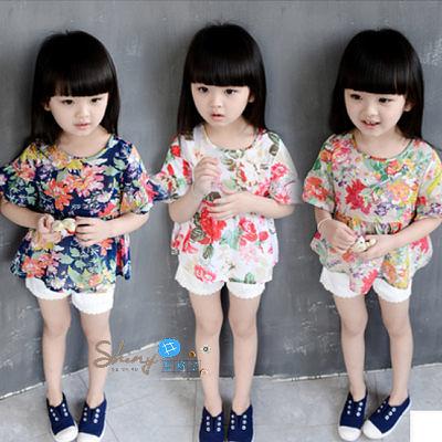 【R0102】shiny藍格子-嬰幼館.夏裝新款女童花朵碎花薄款娃娃衫
