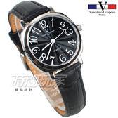 valentino coupeau范倫鐵諾 方圓數字時尚錶 防水手錶 真皮 黑 女錶 V61601B黑小