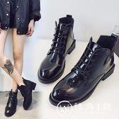 新款女短靴亮皮馬丁靴系鞋帶簡約學生靴黑色百搭休閑靴