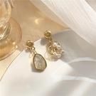 【NiNi Me】夾式耳環 氣質優雅珍珠寶石不對稱夾式耳環 夾式耳環E0267