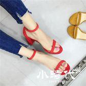 半拖鞋 百搭中空一字帶性感高跟鞋絨面粗跟露趾涼鞋紅色約會女鞋