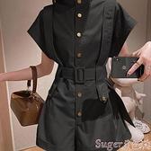 連體褲 2021年新款夏季法式設計感小眾系帶收腰顯瘦時尚炸街工裝連體褲女