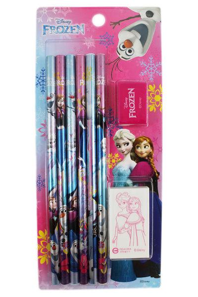 【卡漫城】冰雪奇緣 禮盒文具組 8件 ㊣版 Frozen 艾莎 安娜 雪寶 木頭 鉛筆 Elsa 橡皮擦 削筆器
