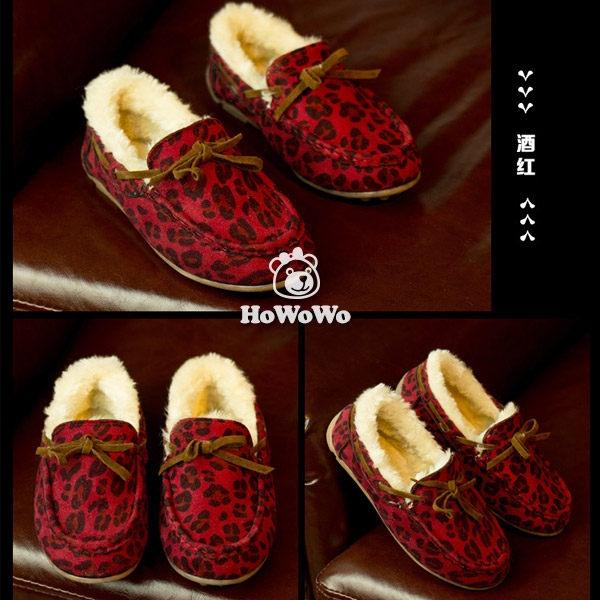 寶寶鞋 時尚豹紋絨內裡學步鞋 公主鞋(16.5-18.5cm) KL916 好娃娃