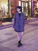 小個子格子毛呢大衣女中長款韓國學生秋冬新款外套 韓慕精品