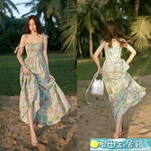 碎花洋裝 法式復古過膝吊帶長裙子女夏季海邊度假沙灘裙氣質收腰碎花連身裙 快速出貨