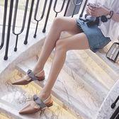 半拖鞋懶人女夏時尚2018新款外穿包頭涼拖鞋尖頭蝴蝶結韓版無后跟