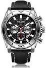 [Y21潮流精品直播] MEGIR 2094頂級品牌豪華男士腕錶復古皮革計時運動手錶