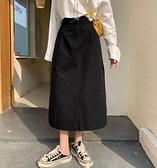 胖mm大碼黑色半身裙中長款女高腰a字裙遮胯裙子顯瘦洋氣工裝裙秋 貝芙莉